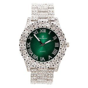 Bling-ed Out Round Watch ST10327Roman Silver/Green